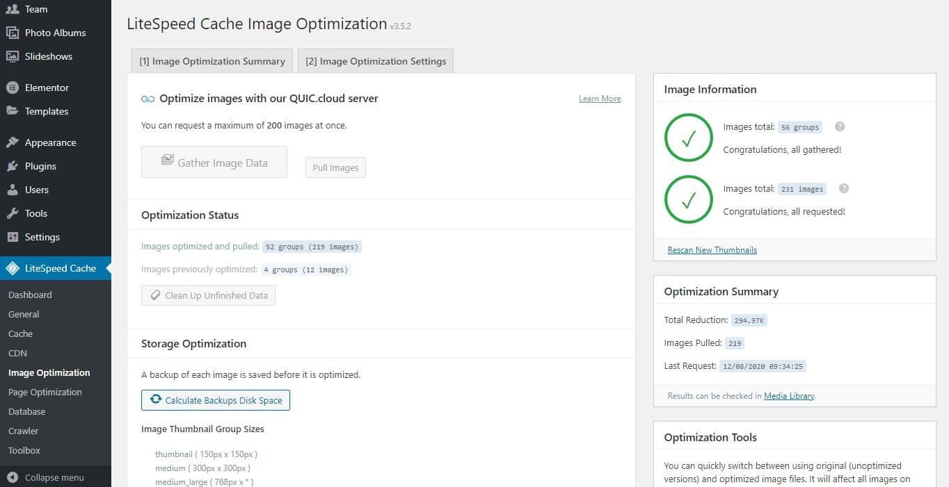 LiteSpeed Cache Image Optimization