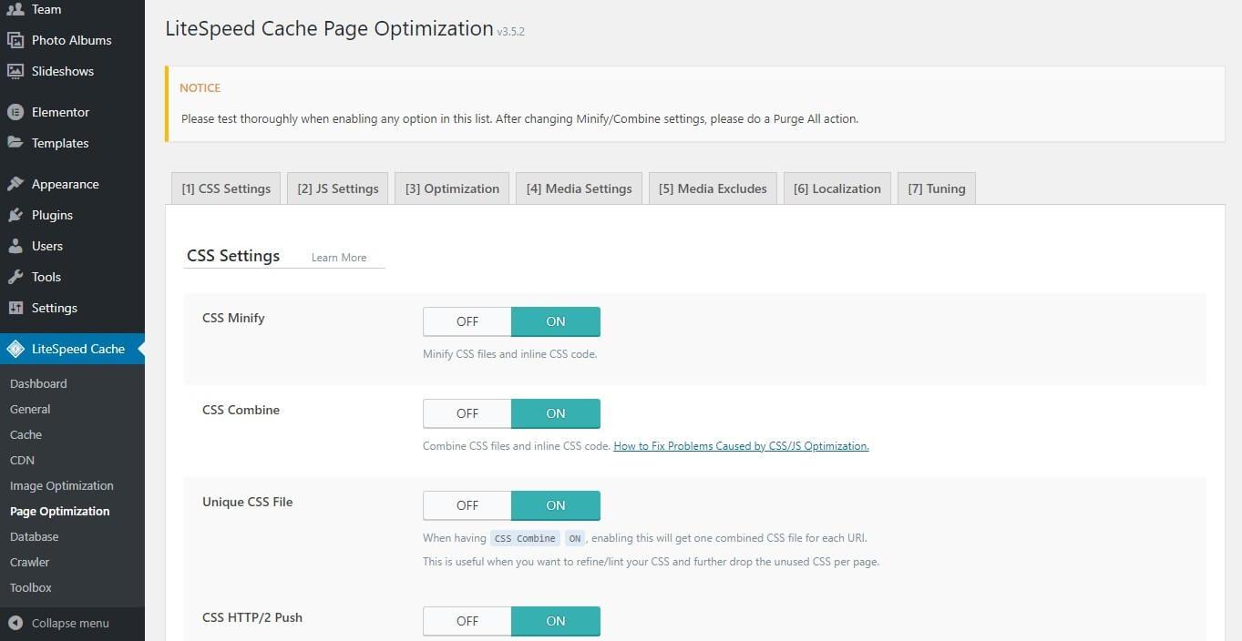LiteSpeed Cache Page Optimization